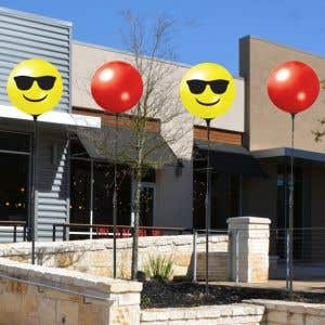 "17"" Reusable Emoji Balloon Single Pole"